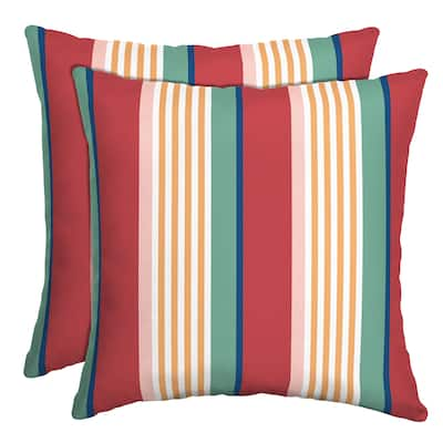 Arden Selections Keeley Stripe Outdoor Throw Pillow, 2 pack - 16 in L x 16 in W x 5 in H