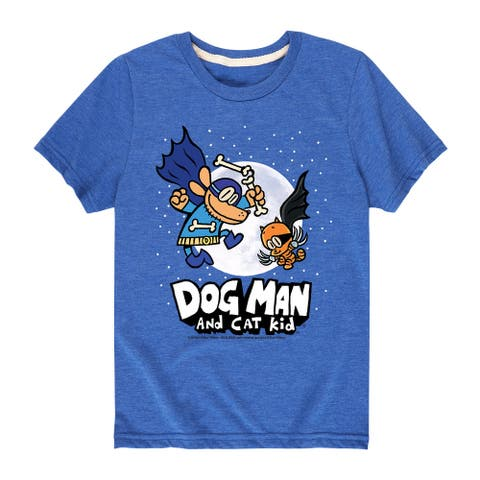 Dog Man and Cat Kid with Moon - Youth Short Sleeve Graphic T-Shirt