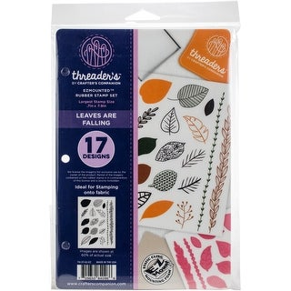 """Crafter's Companion Threaders Rubber Stamp Set 5.5""""X8.25""""-Leaves Are Falling"""