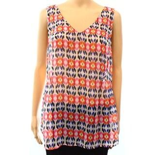 Daniel Rainn NEW Pink White Women's Size XL Tank Cami Printed Open-Back Top