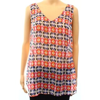 Daniel Rainn NEW White Womens Size Large L Abstract Cutout-Back Tank Top