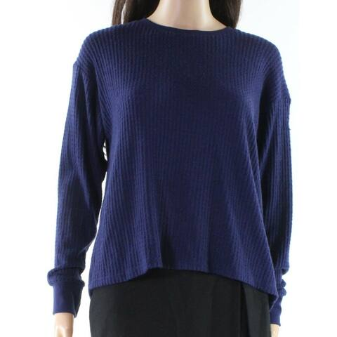 Project Social T Women's Navy Waffle Knit Thermal Crewneck Sweater