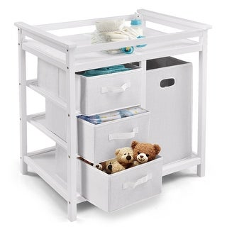 Costway White Infant Baby Changing Table w/3 Basket Hamper Diaper