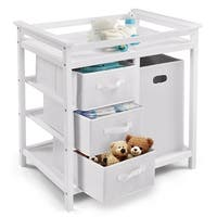Costway White Infant Baby Changing Table w/3 Basket Hamper Diaper Storage Nursery
