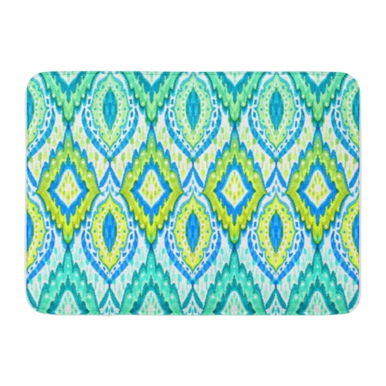 Boho Pattern Lace Paisley Shapes Turquoise Colors Detailed Doormat Floor Rug Bath Mat 30x18 Inch Multi On Sale Overstock 31781345
