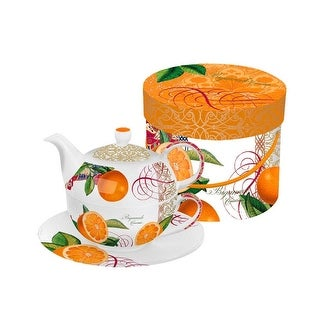 Valencia Orange Bigarrade Couronnee Bone China Tea for One Teapot, Cup and Saucer Set with Gift Box