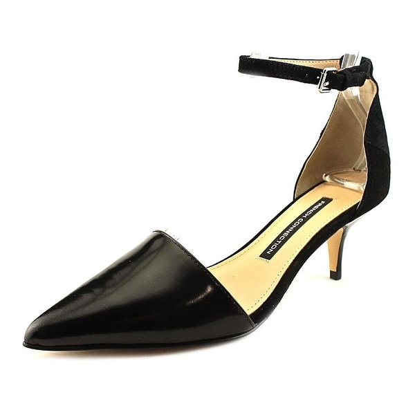 French Connection Womens ENORA Leather Pointed Toe Ankle Strap Classic Pumps