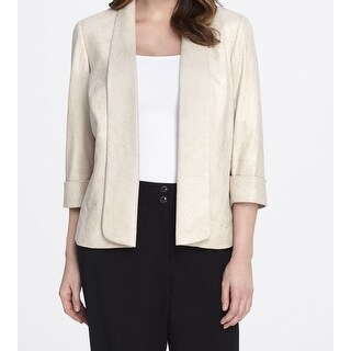 Tahari by ASL NEW Beige Women's Size 22W Plus Faux Suede Jacket