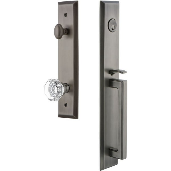 """Grandeur FAVDGRCHM_ESET_238 Fifth Avenue Solid Brass Rose Keyed Entry Single Cylinder """"D"""" Grip Handleset with Chambord Crystal"""