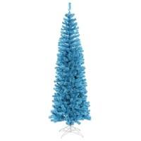 10 Pre Lit Sparkling Sky Blue Artificial Pencil Christmas Tree Lights