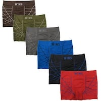 Men's 6 Pack Spider Web Print Seamless Boxer Briefs