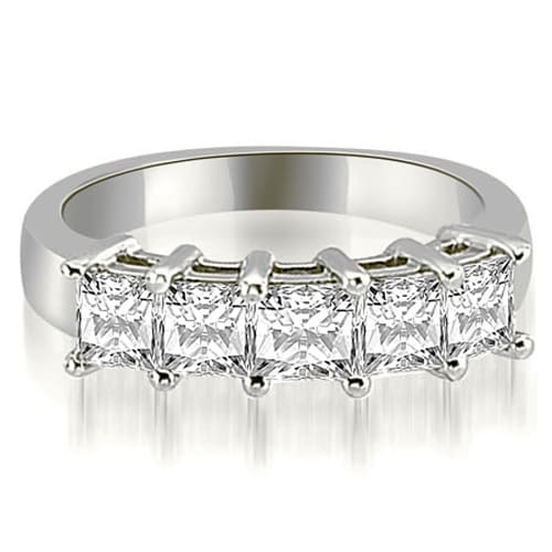 1.35 cttw. 14K White Gold Princess Diamond 5-Stone Prong Wedding Band