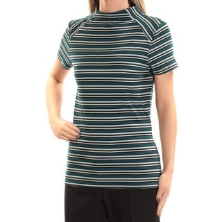 Womens Teal Gray Striped Short Sleeve Crew Neck Top Size S