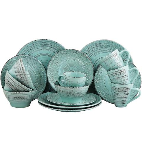 Elama Ocean Waves 16-Piece Dinnerware Set in Turquoise