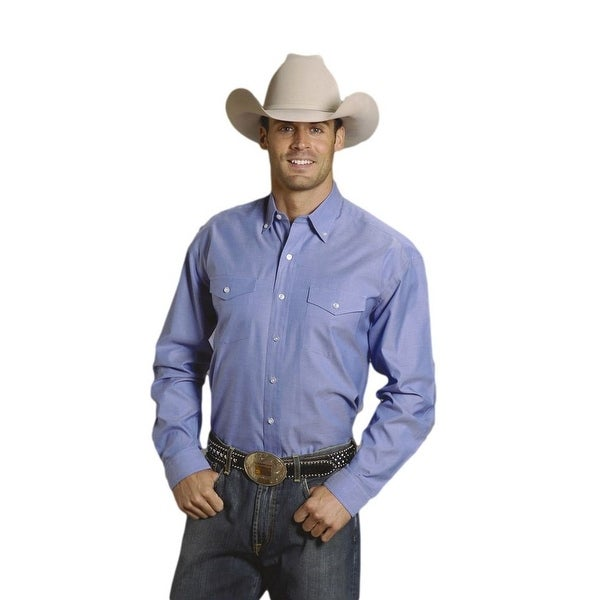 e58924abfc5 Shop Stetson Western Shirt Mens L S Button Solid Blue - Free Shipping Today  - Overstock - 15444591