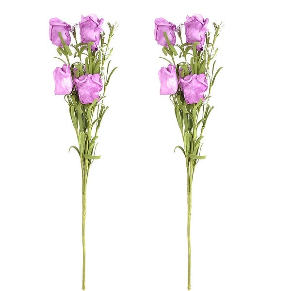 Dorm Windowsill Foam Artificial Rose Bouquet Flower Purple 17.5 Inch Height 2pcs