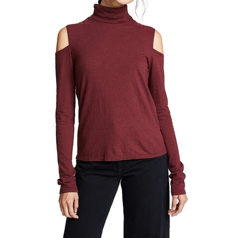 Pam & Gela Womens Knit Top Small Cold Shoulder Turtleneck