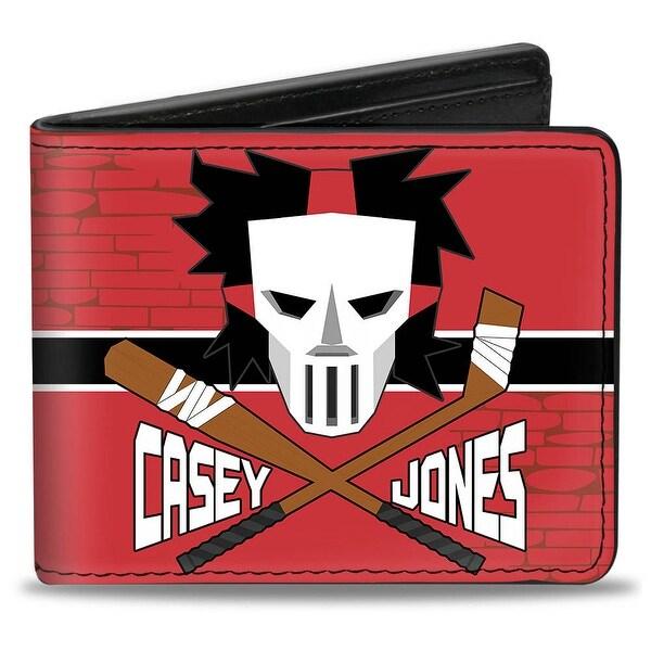 Casey Jones Baseball Bat & Hockey Stick Bricks Stripe Reds White Black Bi Bi-Fold Wallet - One Size Fits most