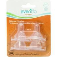 Evenflo CustomFlow Classic Silicone Nipples, Medium Flow (3-6 months) 4 ea