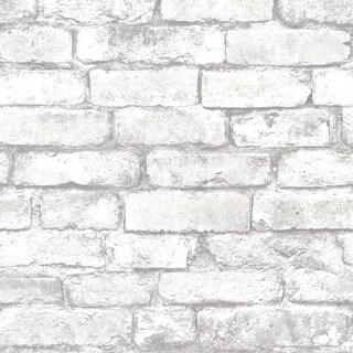 Brewster 2604-21261 Brickwork Light Grey Exposed Brick Texture Wallpaper - light grey brick - N/A