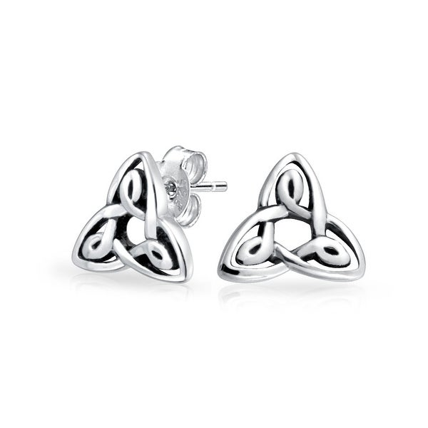 a864be1184c6 Shop Tiny Irish Triquetra Celtic Trinity Knot Tiny Stud Earrings For Women  For Men Oxidized 925 Sterling Silver - On Sale - Free Shipping On Orders  Over  45 ...