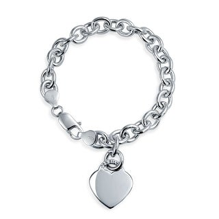 Bling Jewelry Heart Tag Charm Bracelet 925 Sterling Silver (2 options available)