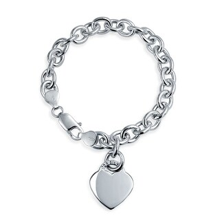Bling Jewelry Heart Tag Charm Bracelet 925 Sterling Silver