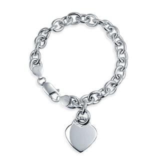 Solid Heart Shape Charm Tag Bracelet Engravable Sterling Silver Rolo