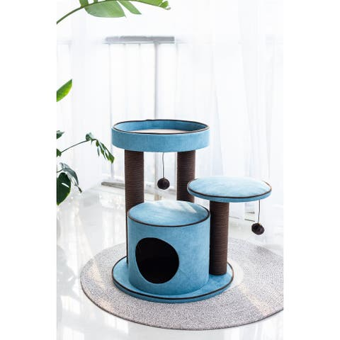 Petpals Meadows Cat Tree with Spacious Perches, Green