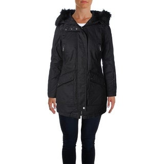 French Connection Womens Parka Mixed Media Hooded