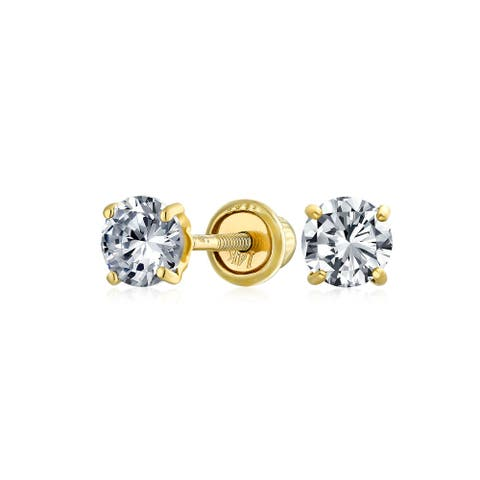 .25CT Round Cubic Zirconia Solitaire CZ Stud Earring REAL 14K Gold
