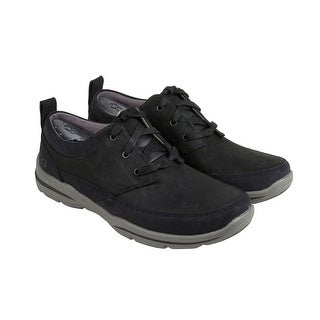 Skechers Harper - Olney Mens Black Leather Casual Dress Lace Up Oxfords Shoes