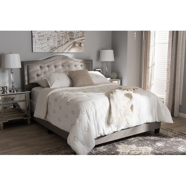 ac42b6e12d94 Shop Emerson Light Grey Fabric Upholstered Box Spring Bed (King ...