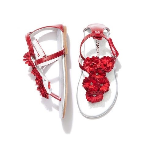 Little Girls Red Flower Array T-Strap Summer Sandals 7-10 Toddler