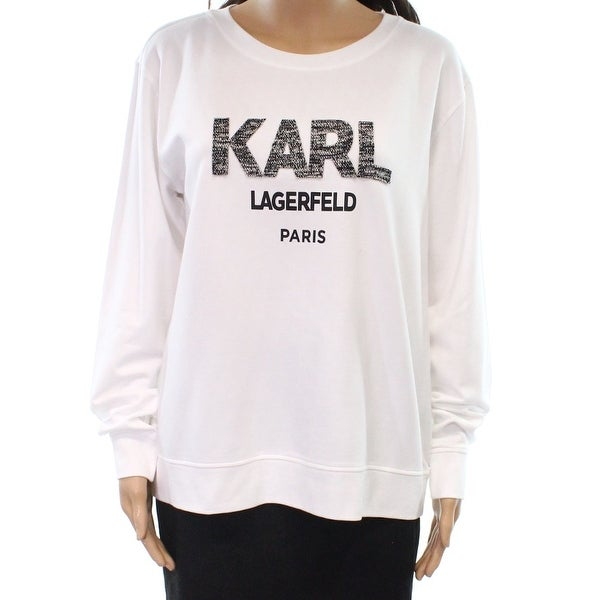 Shop Karl Lagerfeld NEW White Women s Size XL Printed Crewneck Sweater -  Free Shipping On Orders Over  45 - Overstock - 20486585 d2940a1f1f