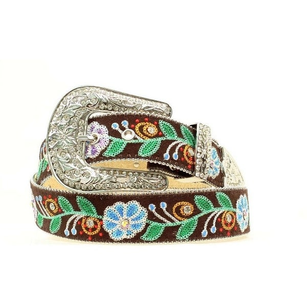 Blazin Roxx Western Belt Womens Floral Embellished Brown