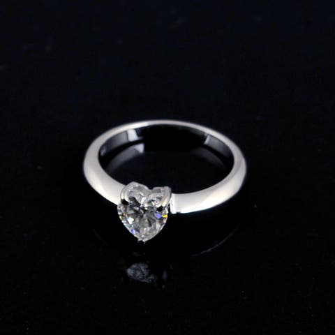 Moissanite Sterling Silver Heart Solitaire Ring by Orchid Jewelry