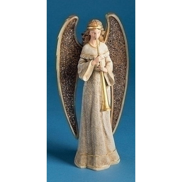 "13"" Joseph's Studio Angel with Mosaic Wings and Herald Trumpet Christmas Table Top Decoration - GOLD"