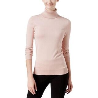 Calvin Klein Womens Turtleneck Sweater Ribbed Trim Raglan Sleeves