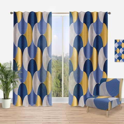 Designart 'Retro Luxury Waves In Gold And Blue X' Mid-CenturyCurtain Panel