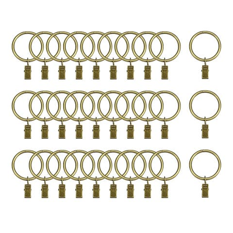 """30 Pack Curtain Clips Drapery Shower Rings w Clips 1.5"""" Interior Dia Bronze Tone"""