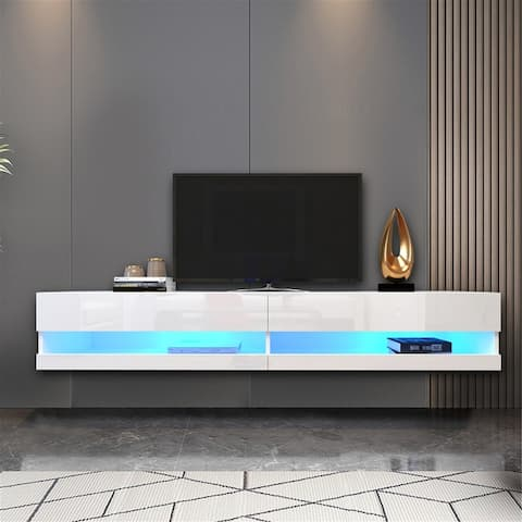 """Wall Mounted Floating 80"""" TV Stand with 20 Color LEDs"""