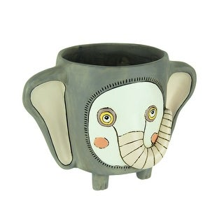 Allen Designs Whimsical Gray Elephant Indoor/Outdoor Planter - 5.75 X 8.5 X 5.5 inches