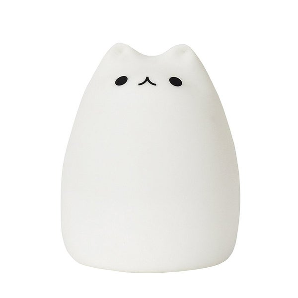 What On Earth Color Changing LED Cat Night Light - Cute Battery Operated Portable Kitty Lamp - Tap On/Off - White - Medium