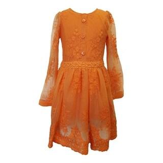 Think Pink Bows Girls Tangerine Lace Long Sleeve Stylish Kendra Dress