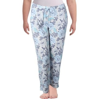 Nuit Rouge Womens Plus Long Pajama Bottoms Fleece Floral Printed