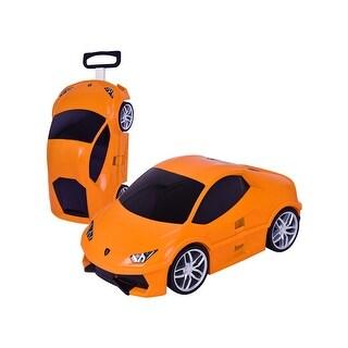 Costway Car Shape 3D Kids Pull Along Travel Case Suitcase Luggage Trolley Rolling Orange