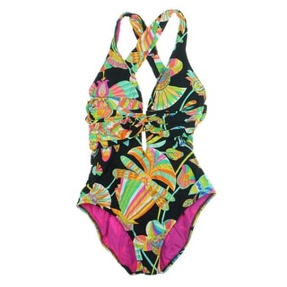 Trina Turk Womens Floral Print Criss-Cross Straps One-Piece Swimsuit
