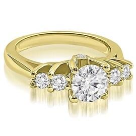 1.35 cttw. 14K Yellow Gold Exquisite Trellis Round Diamond Engagement Ring