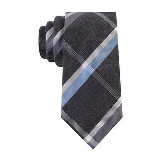 Kenneth Cole Reaction Melange Square Plaid Skinny Tie Necktie Grey and Blue